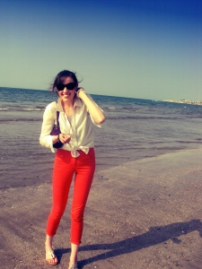 Me! Soaking up the rays on the beach in Muscat, Oman.