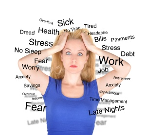 Stress Worry Woman with Text on White